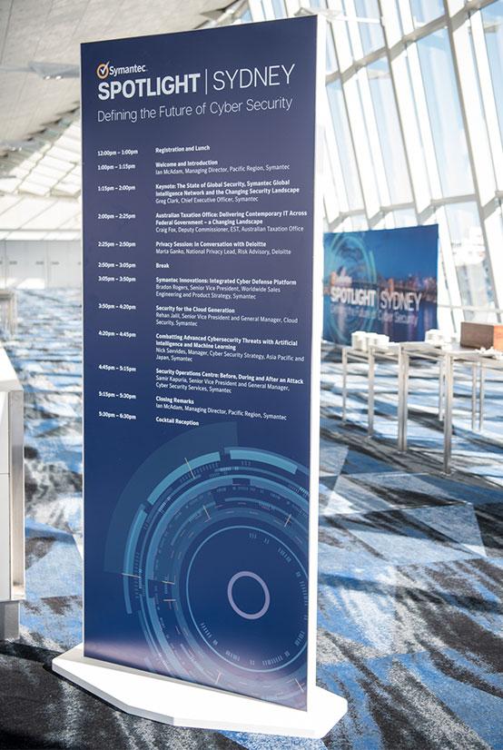 Symantec Spotlight Agenda signage